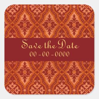 Vintage Ruby Red Damask Designer Square Sticker