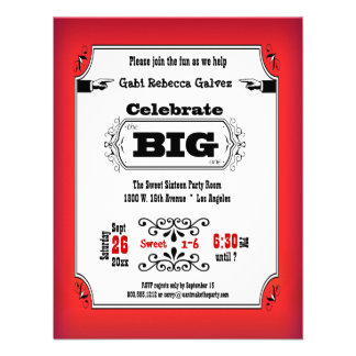 Vintage Ruby Red Playbill Birthday Party Invites