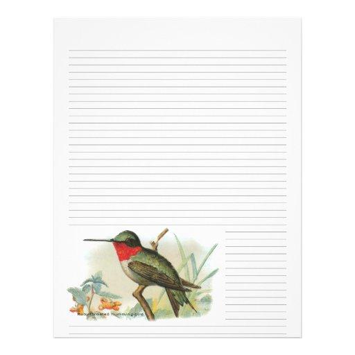 Vintage Ruby Throated Hummingbird Lined Letterhead