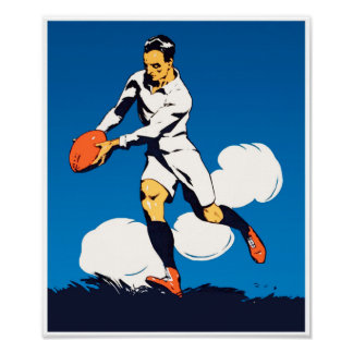 Vintage Rugby Player Poster