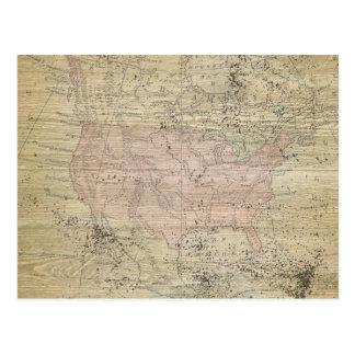 Vintage Rugged Wood Look Map Postcard