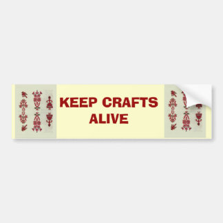 Vintage Rumanian cross stitch embroidery Bumper Sticker