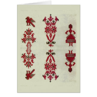 Vintage Rumanian cross stitch embroidery Card