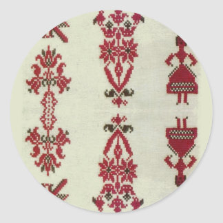 Vintage Rumanian cross stitch embroidery Classic Round Sticker