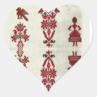 Vintage Rumanian cross stitch embroidery Heart Sticker