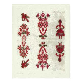 Vintage Rumanian cross stitch embroidery Letterhead