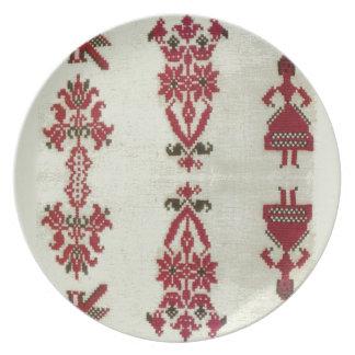 Vintage Rumanian cross stitch embroidery Melamine Plate