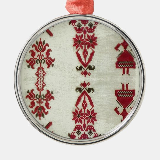 Vintage Rumanian cross stitch embroidery Metal Ornament