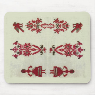 Vintage Rumanian cross stitch embroidery Mouse Pad