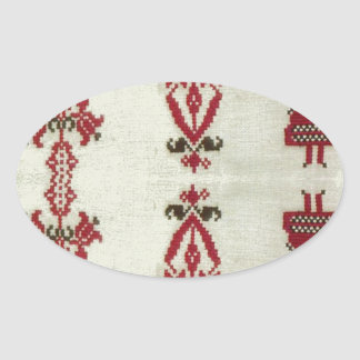 Vintage Rumanian cross stitch embroidery Oval Sticker