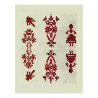 Vintage Rumanian cross stitch embroidery Postcard