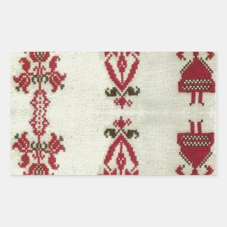 Vintage Rumanian cross stitch embroidery Rectangular Sticker