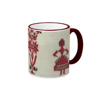 Vintage Rumanian cross stitch embroidery Ringer Mug