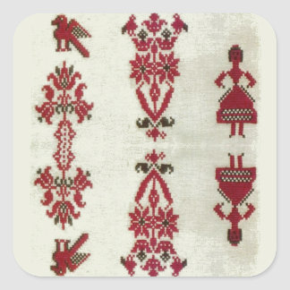 Vintage Rumanian cross stitch embroidery Square Sticker