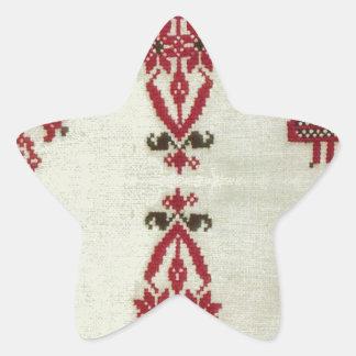 Vintage Rumanian cross stitch embroidery Star Sticker