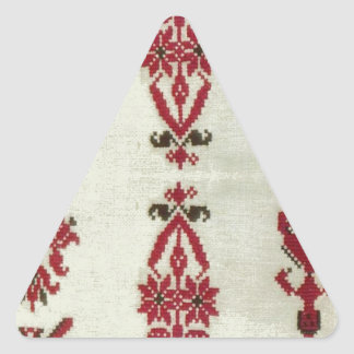 Vintage Rumanian cross stitch embroidery Triangle Sticker
