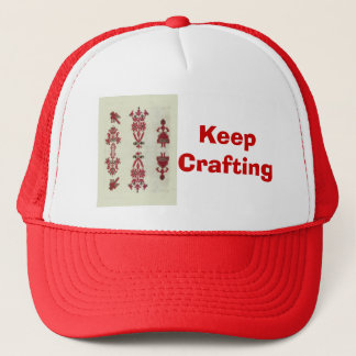 Vintage Rumanian cross stitch embroidery Trucker Hat