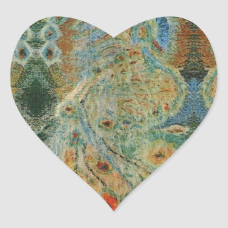 Vintage Rumanian Fabric design Heart Sticker