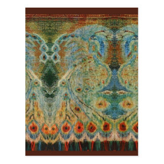 Vintage Rumanian Fabric design Postcard