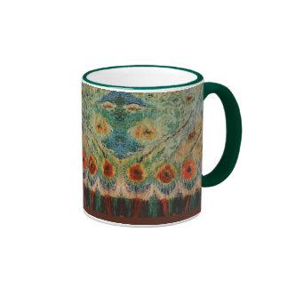 Vintage Rumanian Fabric design Ringer Mug