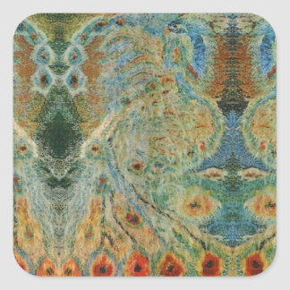 Vintage Rumanian Fabric design Square Sticker