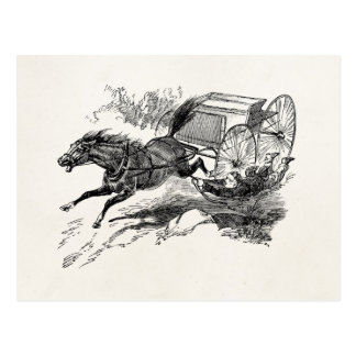 Vintage Runaway Horse with Cart 1800s Retro Horses Postcard