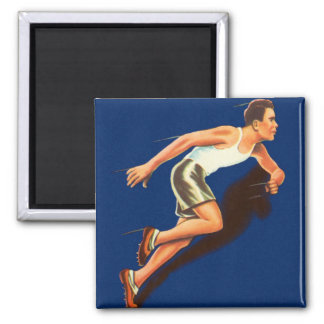 Vintage Running Track and Field Runner 2 Inch Square Magnet