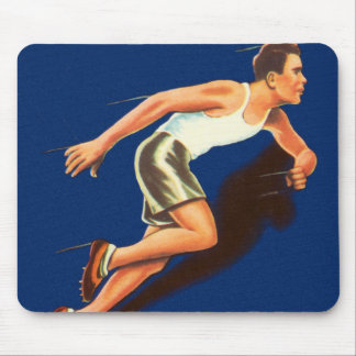 Vintage Running Track and Field Runner Mouse Pad