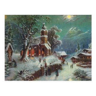 Vintage Rural Christmas Eve Genre Painting Postcard