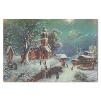Vintage Rural Christmas Eve Genre Painting Tissue Paper