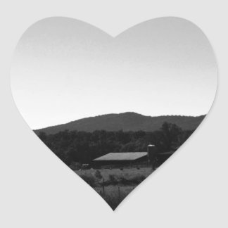 Vintage Rural Landscape Heart Sticker