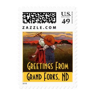Vintage Rural Life Couple Grand Forks ND Stamps