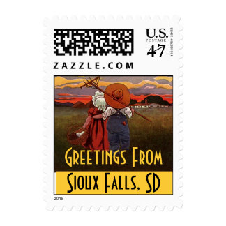 Vintage Rural Life Couple Sioux Falls SD Stamps