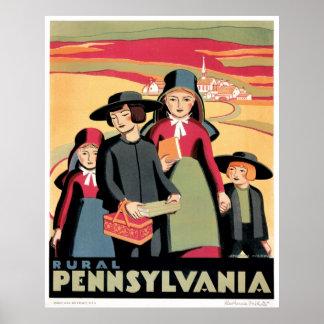 Vintage Rural Pennsylvania Travel WPA Poster