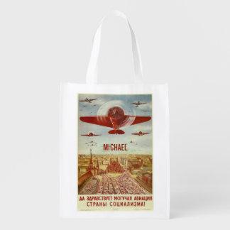 Vintage Russian Aviation custom name reusable bag Market Tote