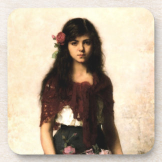 Vintage Russian Beautiful Girl Painting Coaster