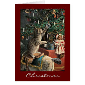 Vintage Russian Cat Christmas Card