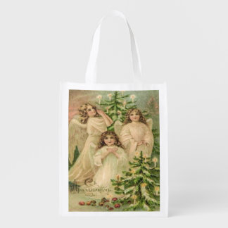 Vintage Russian Christmas Angels, Russian Greeting Grocery Bag