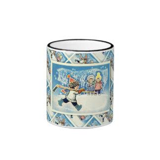 Vintage Russian Christmas, Ice hockey player Ringer Mug