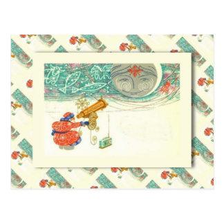 Vintage Russian Christmas, Santa and telescope Postcard