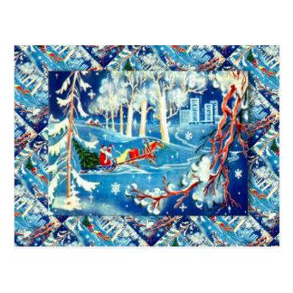 Vintage Russian Christmas, Santa's journey Postcard