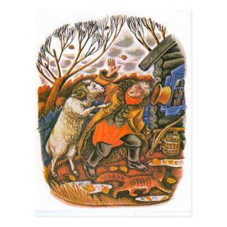 Vintage Russian illustrations, Aesop's fables 9 Postcard