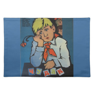 """Vintage Russian Movie Poster """"Чудак из 5 Б"""" Cloth Placemat"""