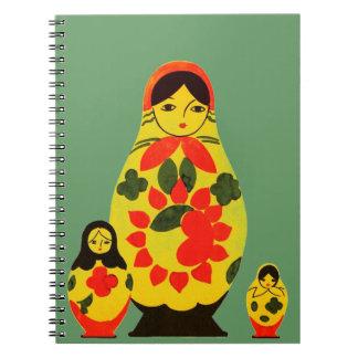 Vintage Russian Russia Chic Matryoshka Doll Spiral Notebook