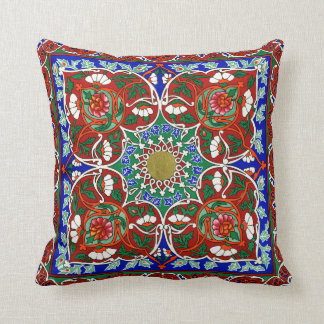 Vintage Russian Tile Design Throw Pillow