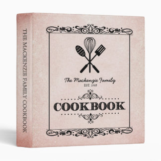 Vintage Rust Aged Paper Family Cookbook 3 Ring Binder