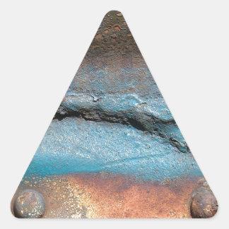 Vintage Rust on Metal Triangle Sticker