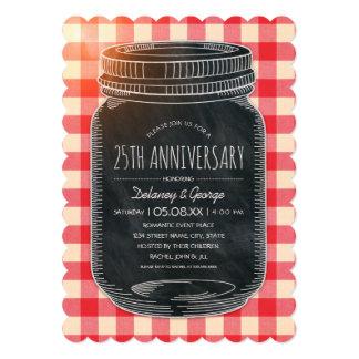 Vintage Rustic 25th Wedding Anniversary Picnic Invitation