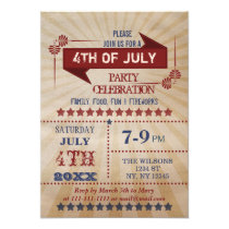 Vintage Rustic 4th of July Party Invitations