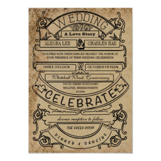 Vintage Rustic Ad Modern Typography Wedding Card